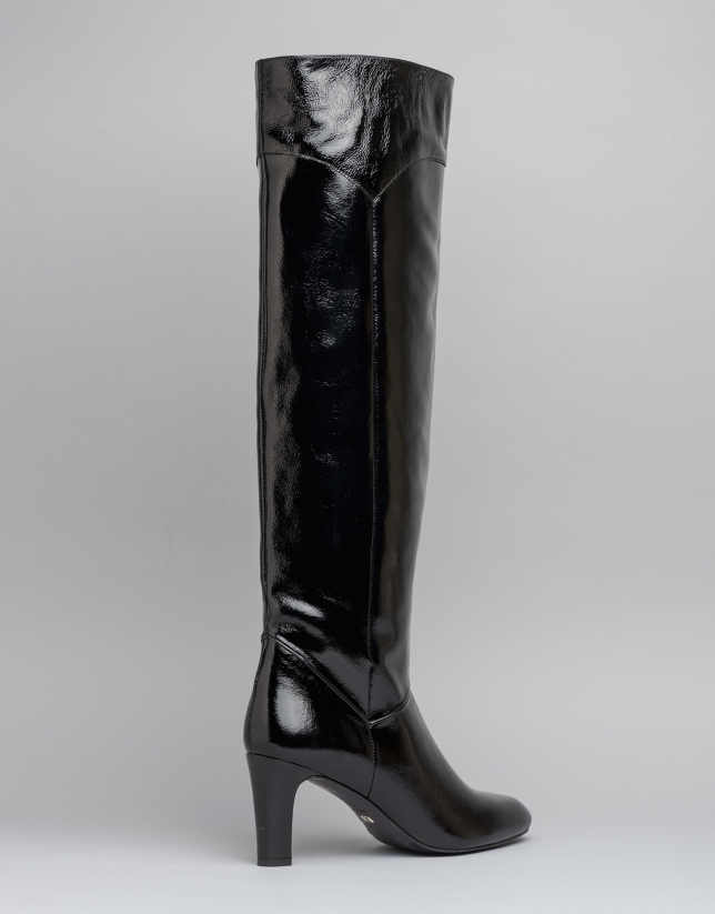 Black leather Chagall high heeled boots