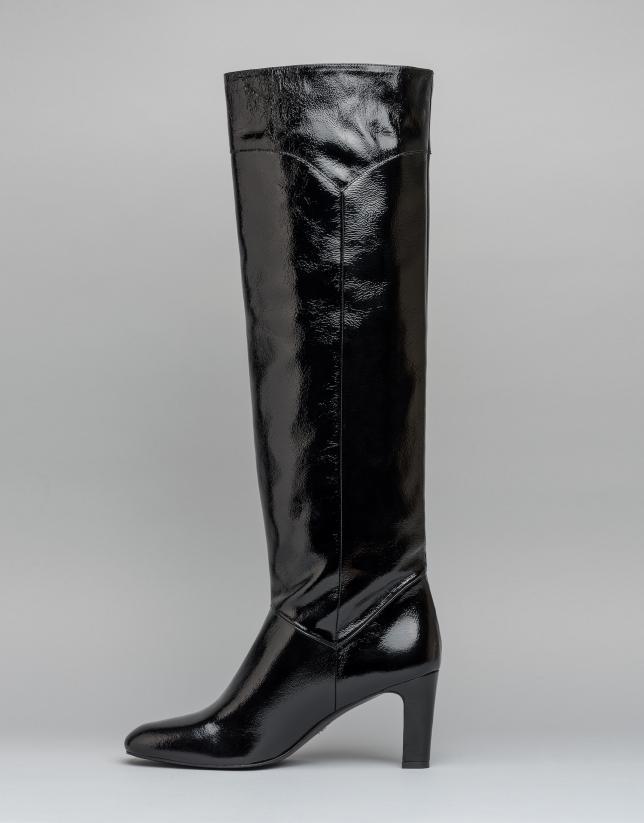 Botte haute à talon Chagall en cuir noir