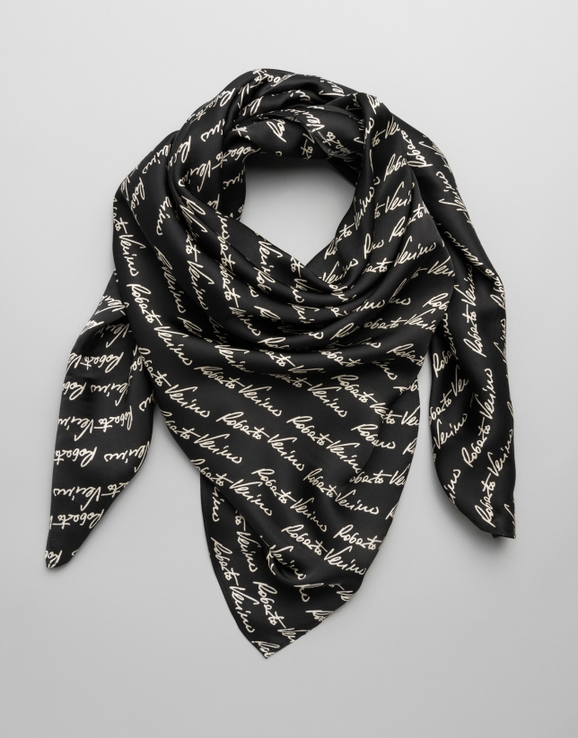 Large black scarf with RV signature print