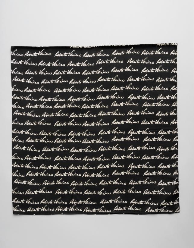 Large black scarf with RV signature print