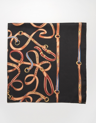 Large black scarf with belt print