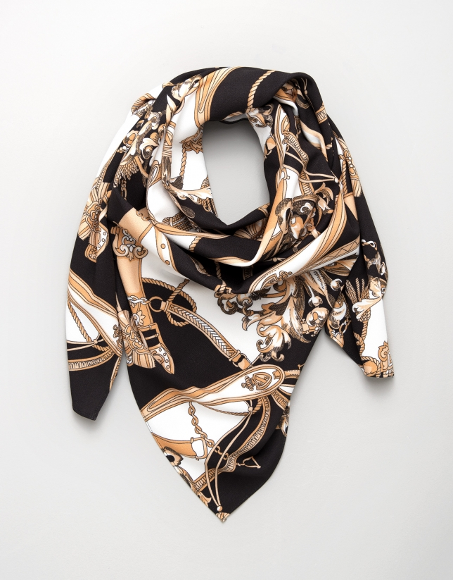 Large black scarf with belt and chain print