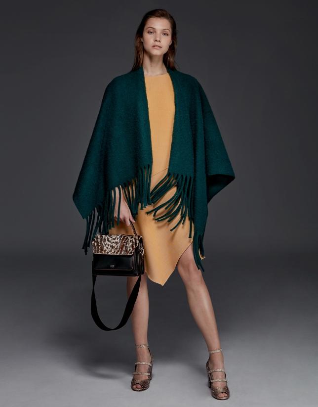 Poncho à franges vert
