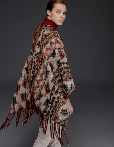 Red ethnic print poncho with fringe