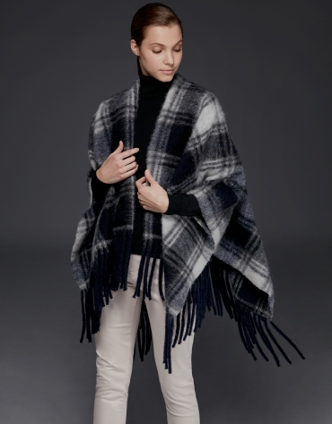 Blue checked print poncho with fringe