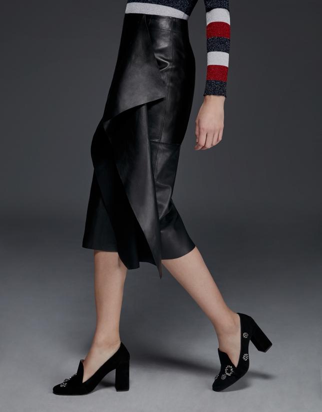 Mid-length black napa flounce skirt