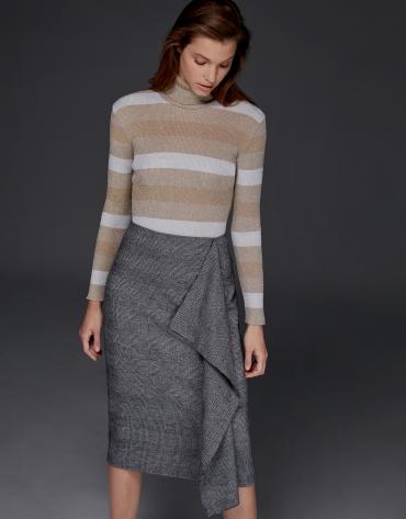 Gray glen plaid midi skirt with ruffles