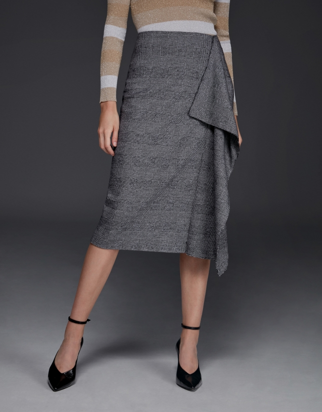 Gray glen plaid midi skirt with ruffles