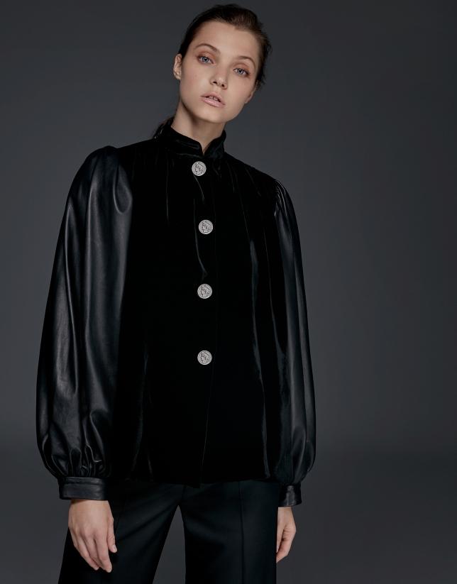 Black napa and velvet jacket