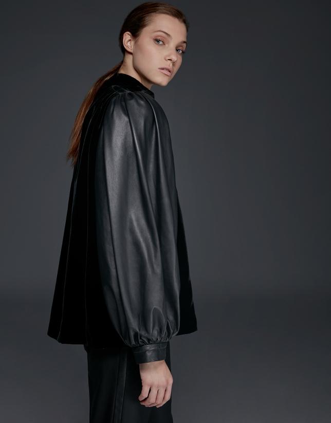 Veste en cuir nappa et velours noir