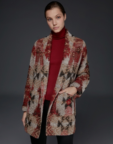 Burgundy jacquard three-quarter jacket