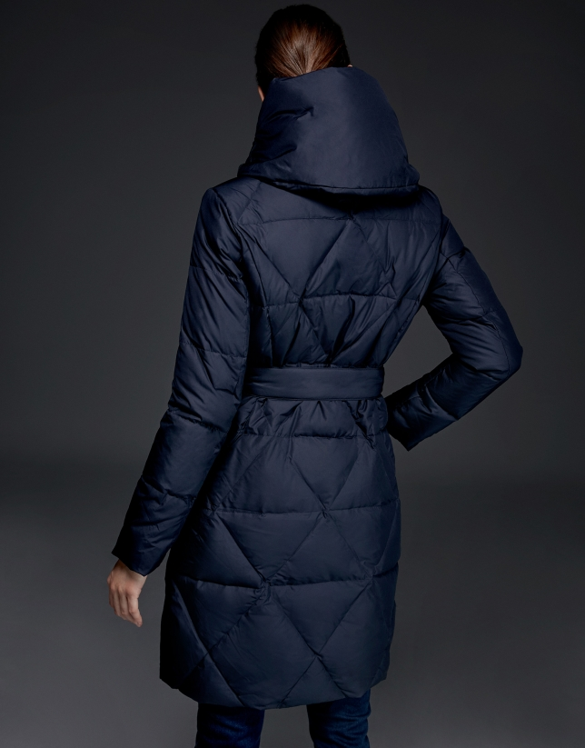 Long navy blue quilted ski jacket