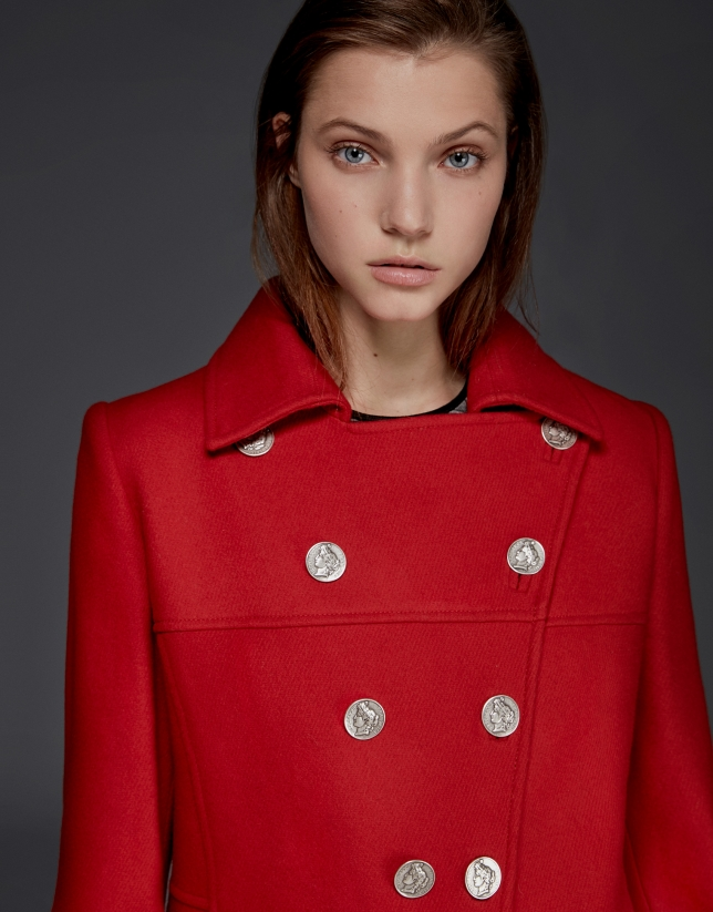 Long red wool coat with buttons