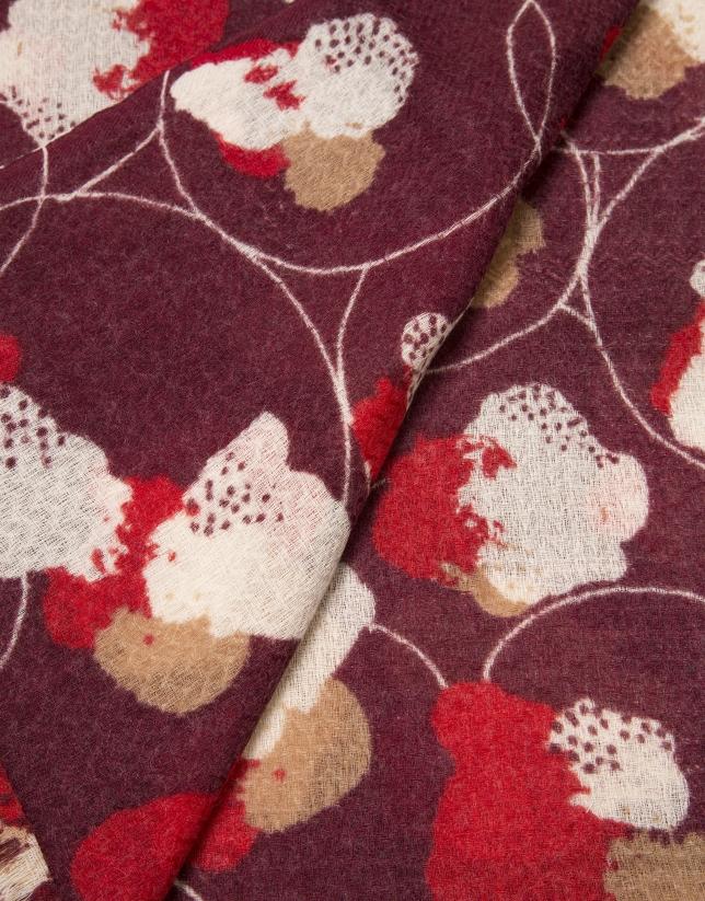 Etole en laine rouge imprimée de fleurs