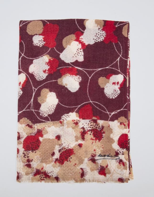 Red floral print wool scarf
