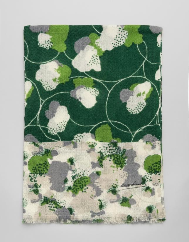 Green floral print wool scarf
