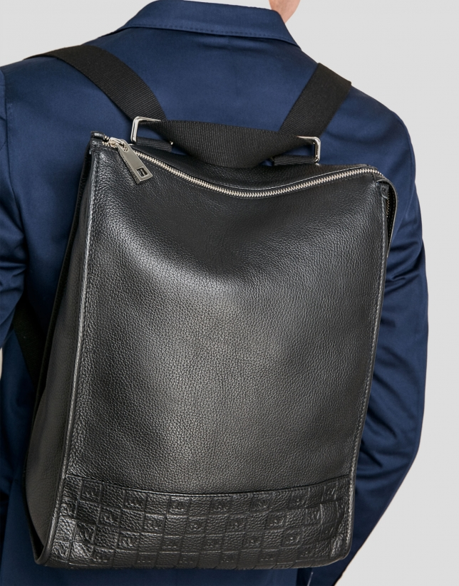 Men's black leather backpack