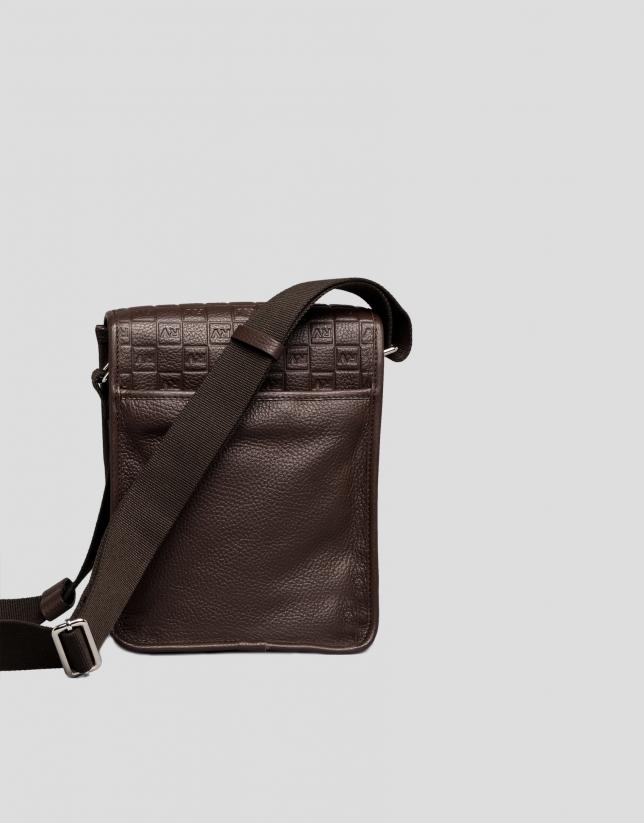 Men's brown leather shoulder bag