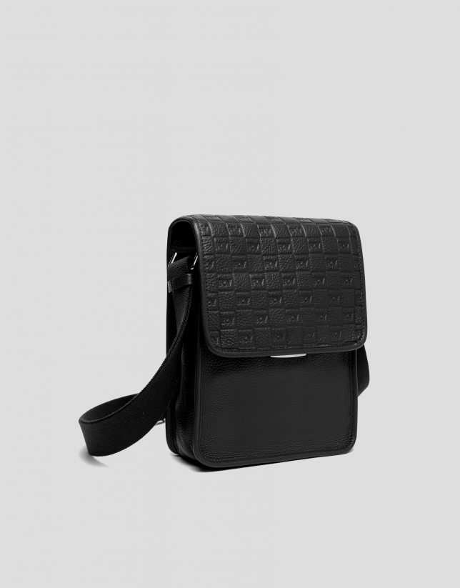 Men's black leather shoulder bag