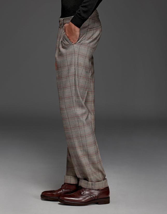 pantalon pinces prince de galles beige rouge roberto. Black Bedroom Furniture Sets. Home Design Ideas