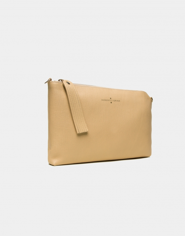 Gold leather Lisa Clutch