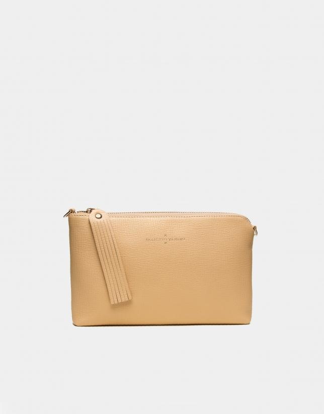 Gold leather Lisa nano Clutch