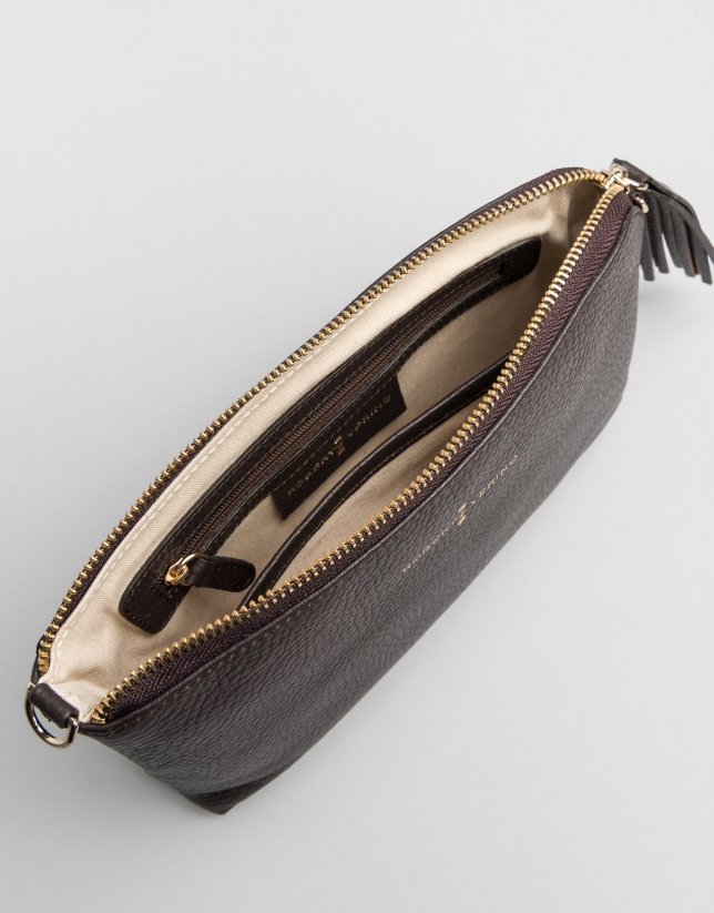 Brown leather Lisa Clutch