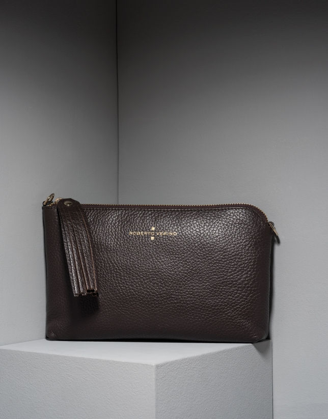 Brown leather Lisa nano Clutch