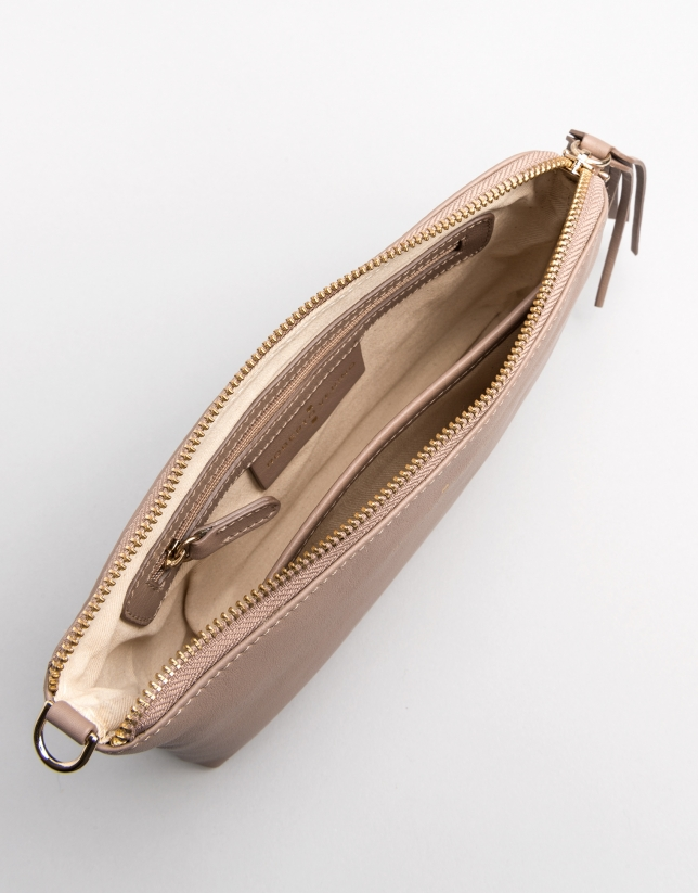 Taupe leather Lisa nano Clutch