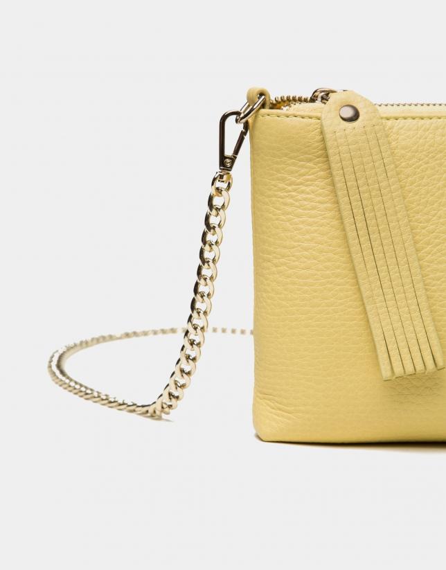 Sun yellow leather Lisa nano Clutch