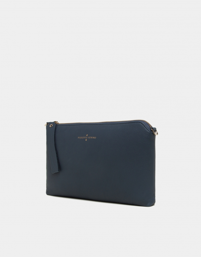 Navy blue leather Lisa Clutch