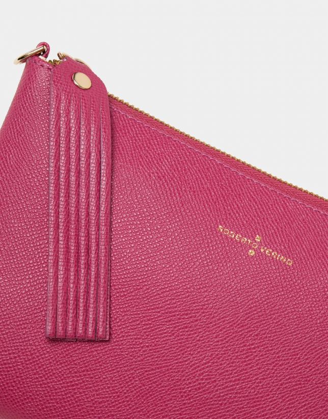 Strawberry red leather Lisa nano Clutch