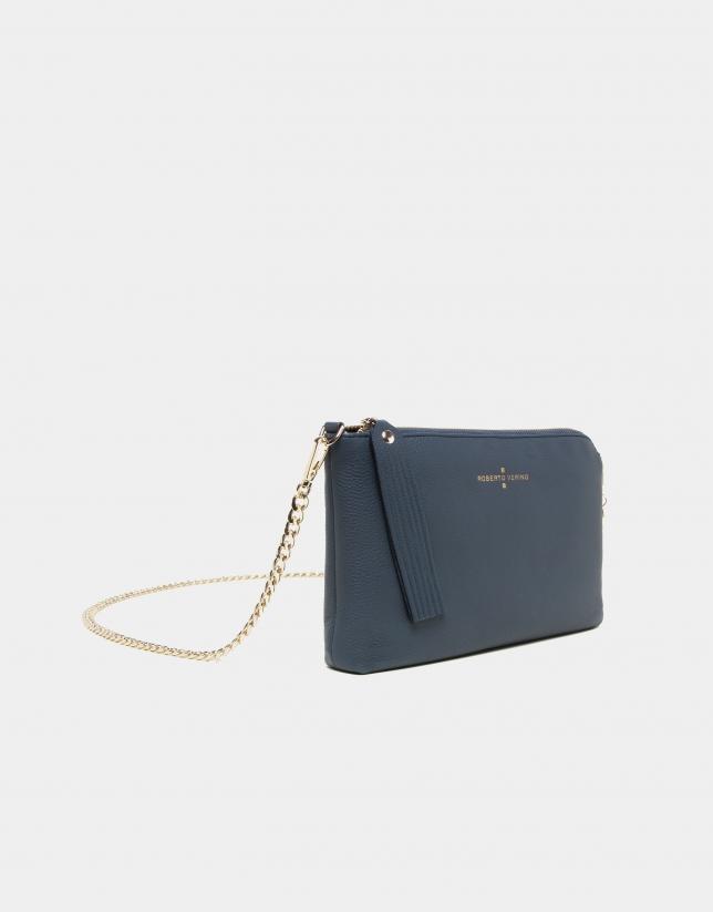 Navy blue leather Lisa nano Clutch