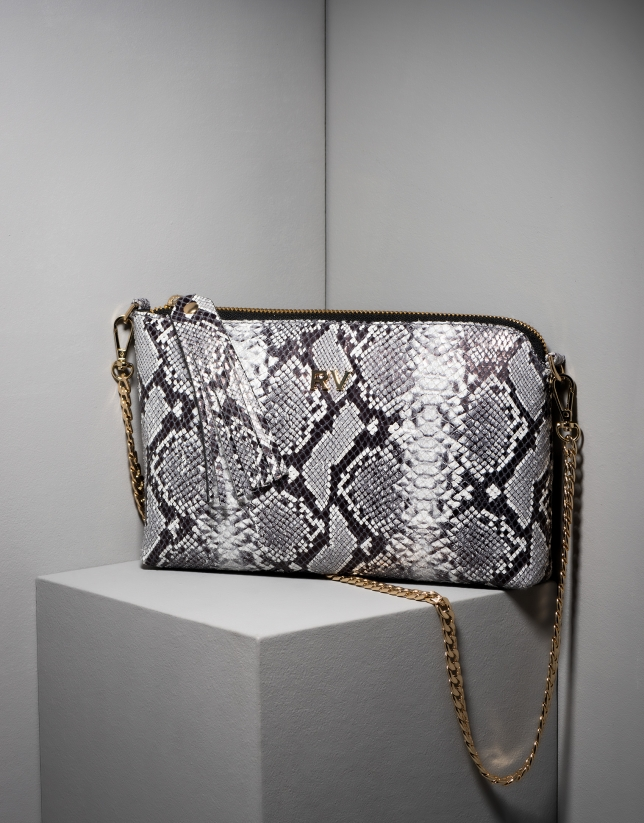 Snakeskin leather Lisa nano Clutch