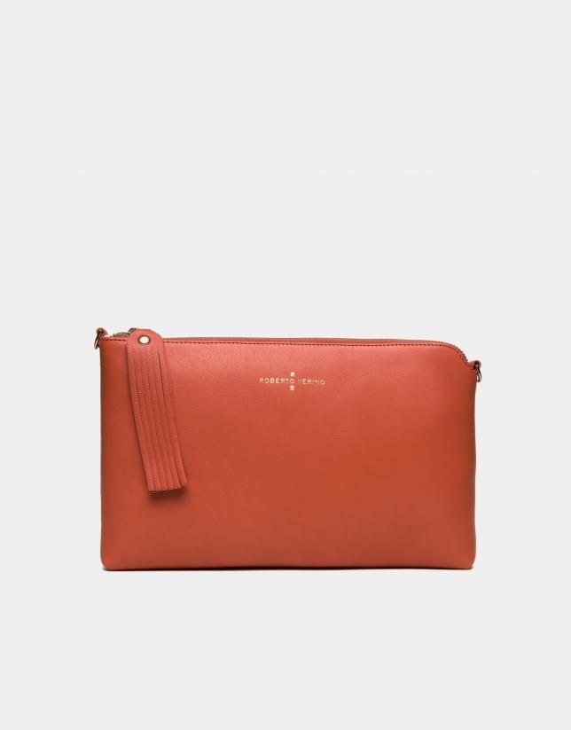 Orange leather Lisa Clutch