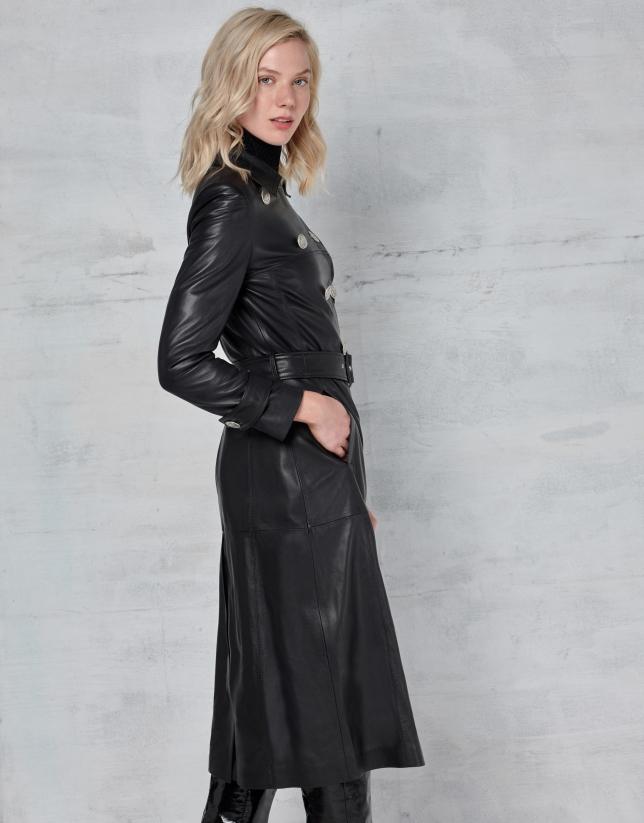 Manteau long en cuir nappa noir