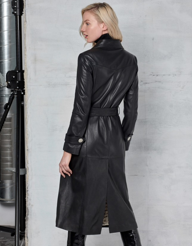 Long black napa coat