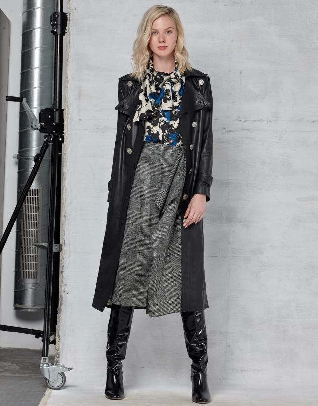Long black napa coat