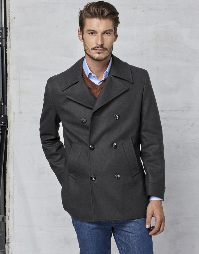 Gray wool three-quarter coat