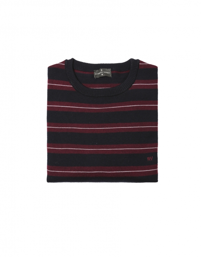 Marroon and white striped knit sweater