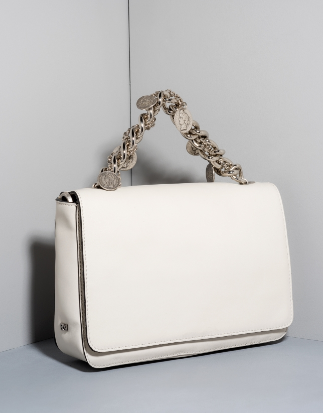 White leather Joyce billfold with chain