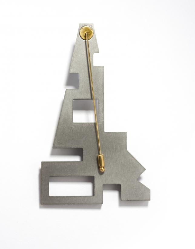 Silver- finished Eiffel brooch