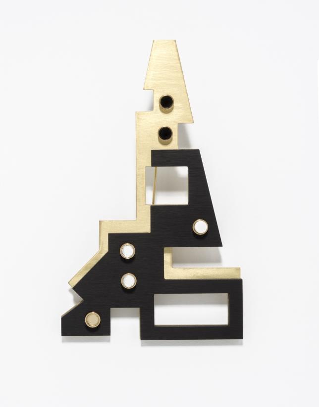 Gold- finished Eiffel brooch