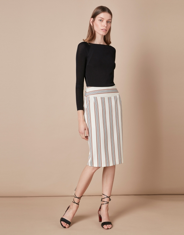 Striped sheath skirt
