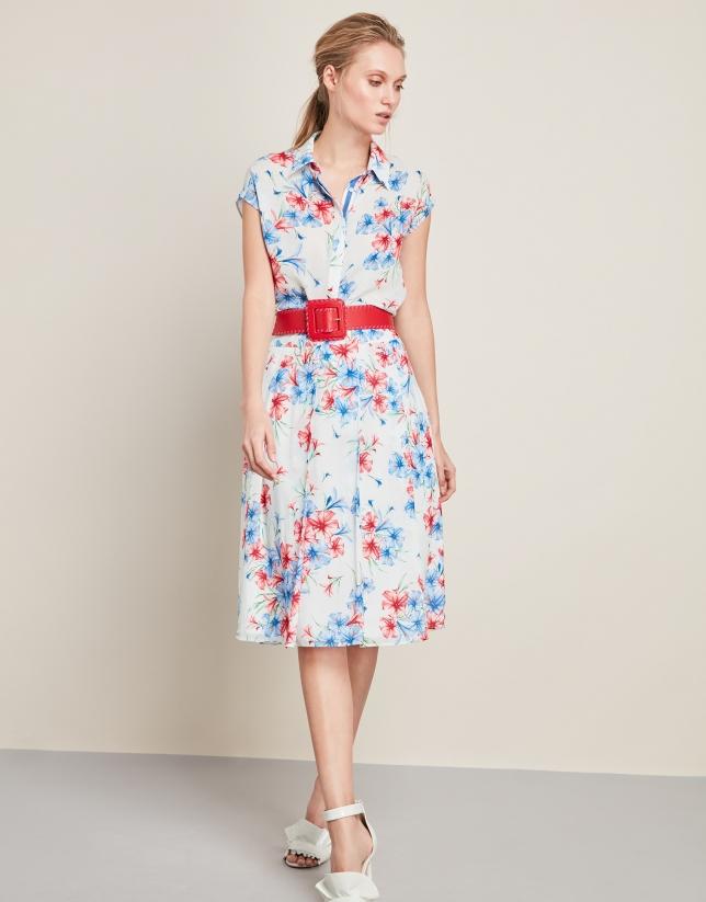 Blue print pleated skirt