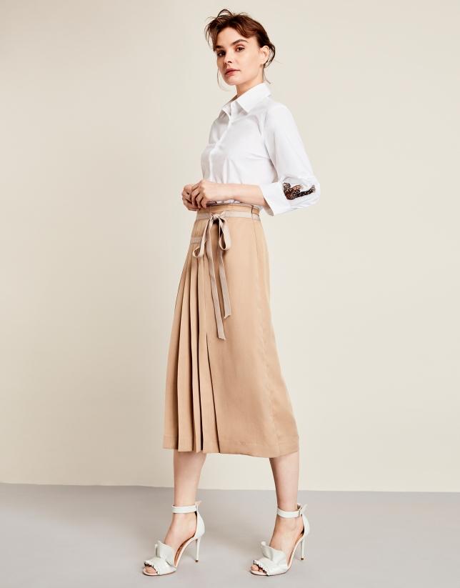 Pleated wrap-around skirt
