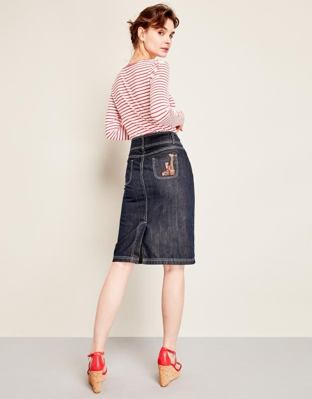 Jupe en jean patchée