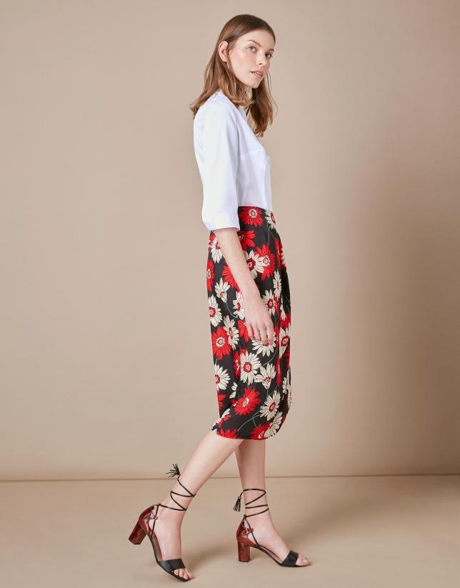 Print wrap-around skirt
