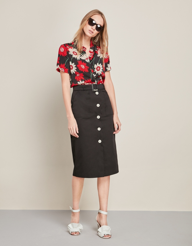 Long black buttoned down skirt