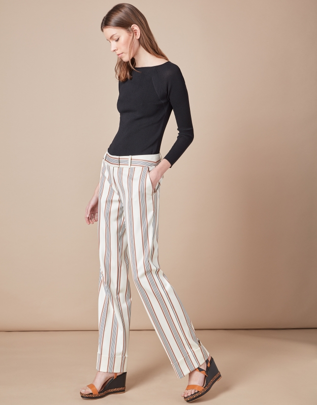 Beige striped, masculine cut, pants